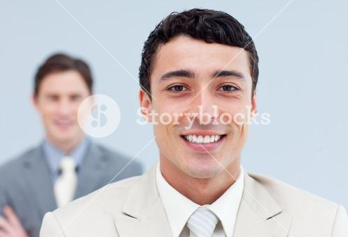 Charming business people standing in a row