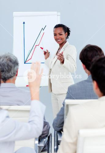 Selfassured businesswoman doing a presentation