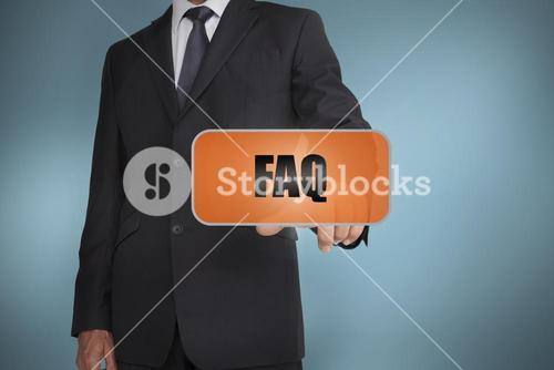 Businessman selecting orange tag with faq