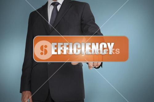 Businessman selecting the word efficiency written on orange tag