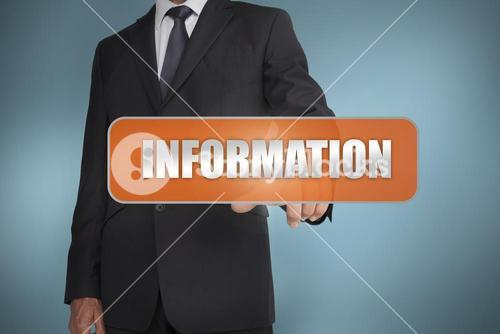 Businessman selecting the word information written on orange tag