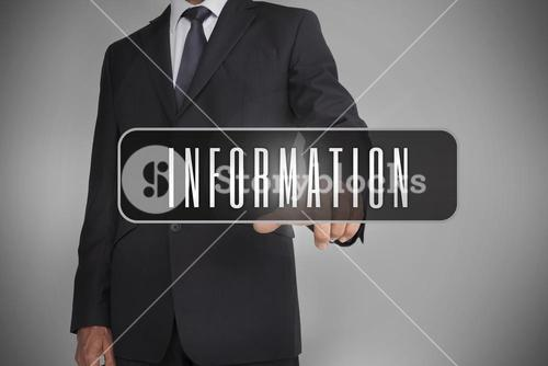 Businessman selecting the word information written on black tag