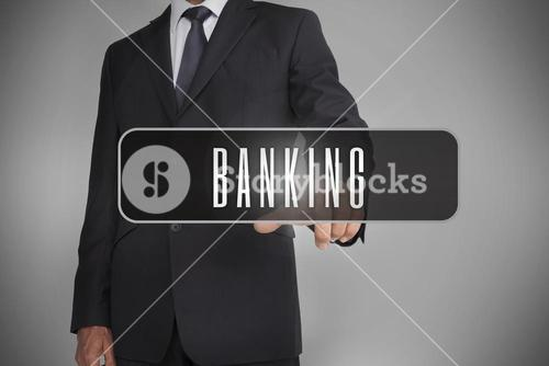 Businessman selecting label with banking written on it