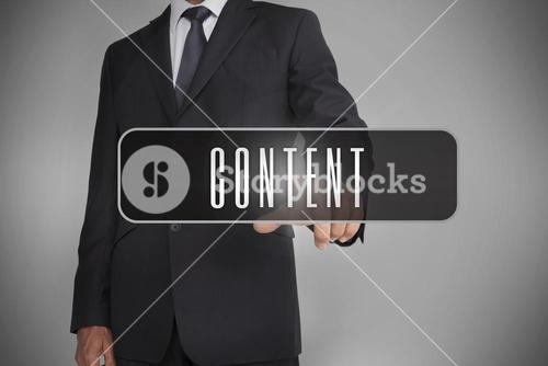 Businessman selecting label with content written on it