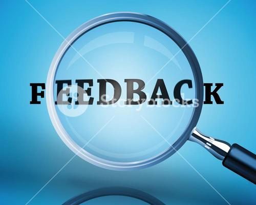 Magnifying glass showing feedback word