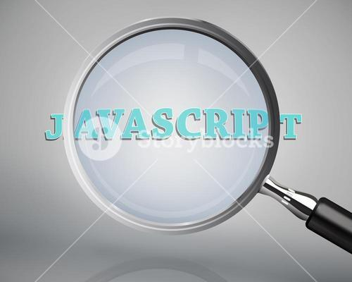 Magnifying glass showing javascript word