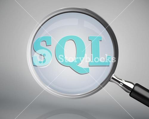 Magnifying glass showing sql word