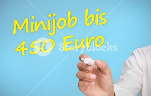 Businessman writing in yellow minijob bis 450 euro