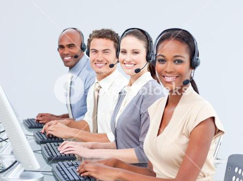 Customer service representatives using headset