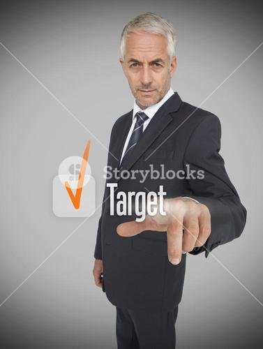 Businessman selecting the word target