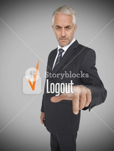 Businessman selecting the word logout