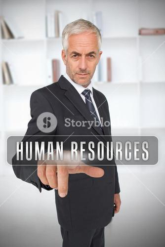 Businessman touching the term human resources