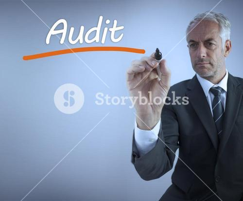 Businessman writing the word audit