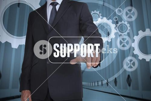Businessman selecting a label with support on it