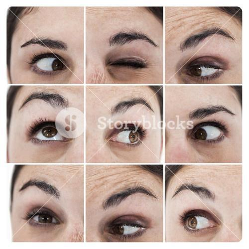 Collage of various pictures showing the eyes of a woman
