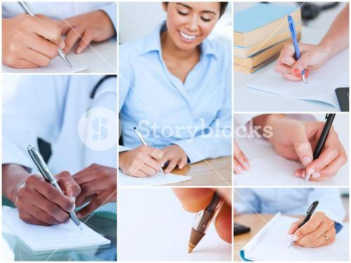 Collage of pictures showing women writing