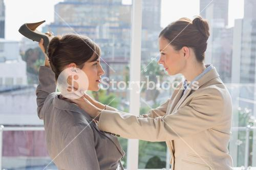 Businesswomen having a violent fight
