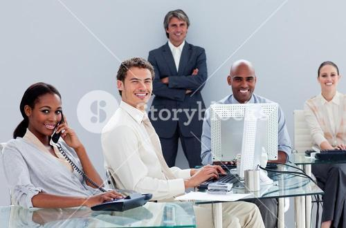 Portrait of a business team at work