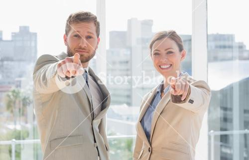 Business team pointing