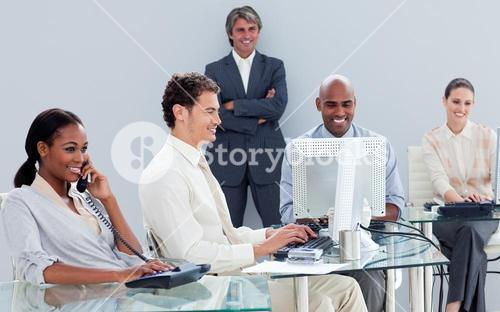 Presentation of a business team working hard