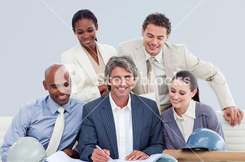 Confident architects having a brainstorming