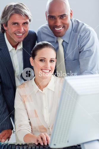 United business people working at a computer