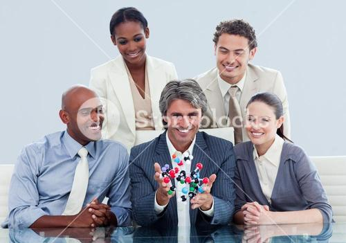 Animated business team showing a molecule