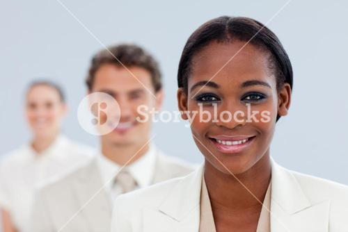 Young businesswoman and her team