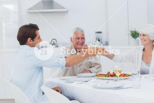 Family clinking their glasses of white wine