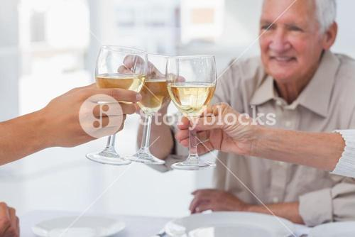 Close up of glasses of white wine