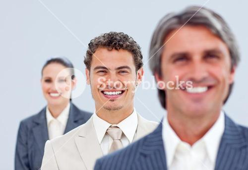 Young businessman and his team