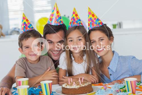 Beautiful family celebrating a party