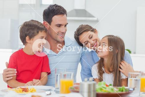 Cute family during the dinner