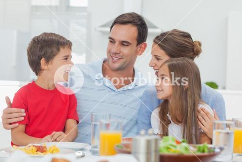 Happy family during the dinner