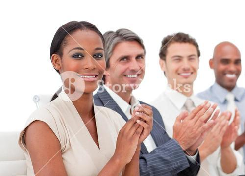 International business people applauding a presentation
