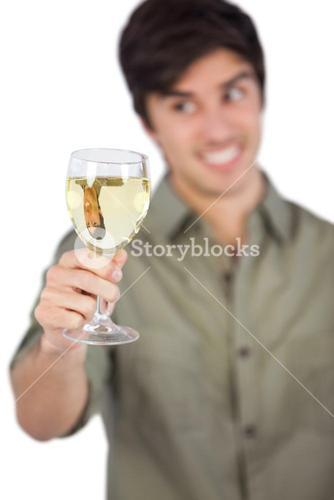 Man with white wine glass