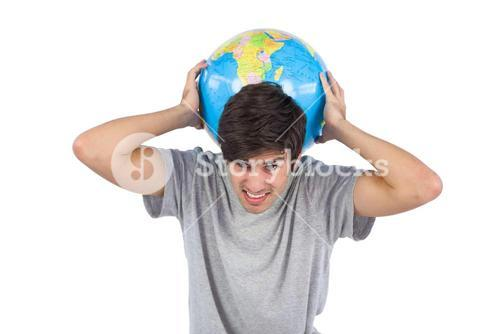 Man suffering while holding a globe