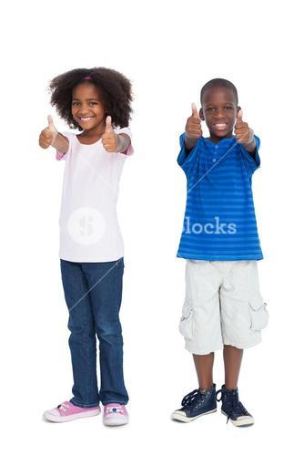 Brother and sister with thumbs up