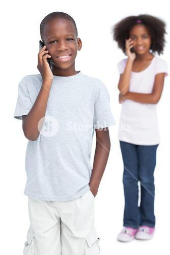 Brother and sister on the phone