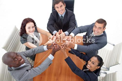 High angle of happy business team with thumbs up