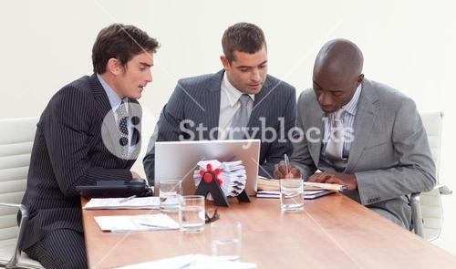Businessmen in a meeting working together