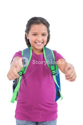 Little girl with book bag does thumbs up at camera