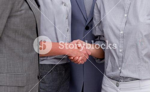 Close up of a fortunate Business team closing a deal