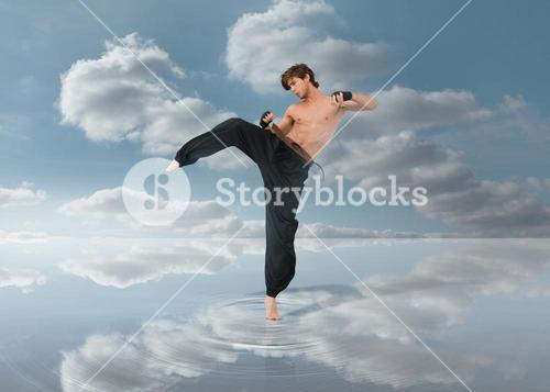 Martial arts fighter over puddle