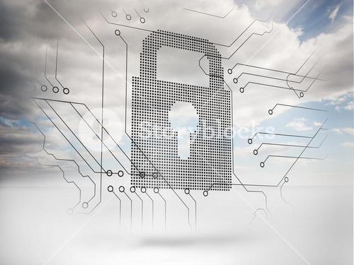 Grey padlock with sky on the background