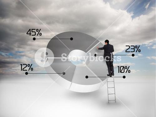 Businessman drawing a pie chart