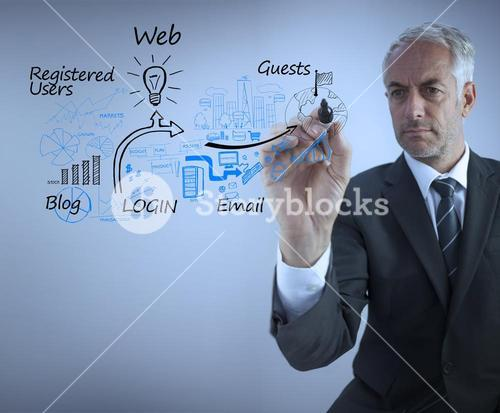Businessman drawing the production cycle of the web marketing