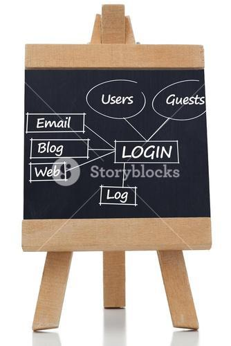 Login terms written on a blackboard