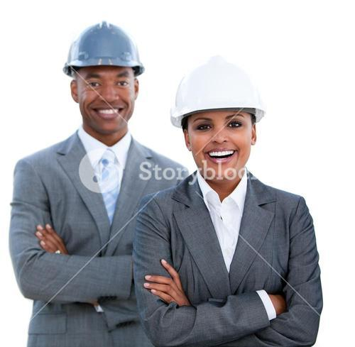 Portrait of two architects with crossed arms