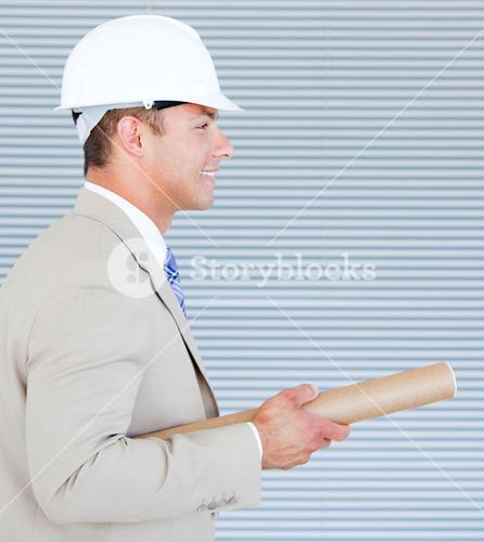 Portrait of a confident architect wearing a hardhat